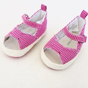 Pink Gingham Bow Sandals
